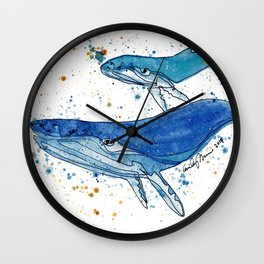 Whale Mommy and Baby Wall Clock
