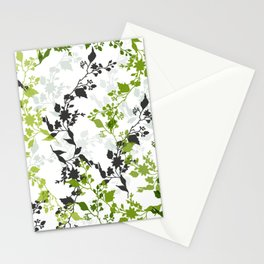 Branches and Leaves in Cobalt Grey and Green Stationery Cards