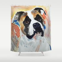 boxer Shower Curtains featuring Boxer by Bowles Fine Paintings
