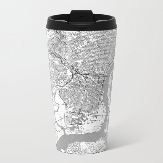 Philadelphia Map Line Metal Travel Mug