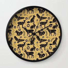 Folk Art Forest Animals, Mustard Wall Clock