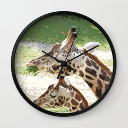 Giraffe Mother and Child Wall Clock