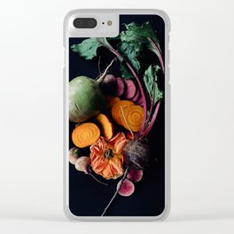 Moody Root Vegetables and Rose Clear iPhone Case