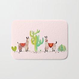 Cute alpacas with pink background Bath Mat