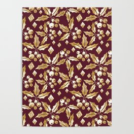 Christmas pattern.Gold sprigs on a dark Burgundy background. Poster