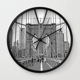 Brooklyn Bridge NYC [Black & White] Poster Print Wall Clock