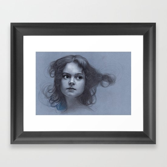 Behind greyness - pencil drawing on paperboard Framed Art Print