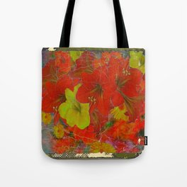 GRUNGY ANTIQUE RED FLORAL STILL LIFE BOUQUET Tote Bag