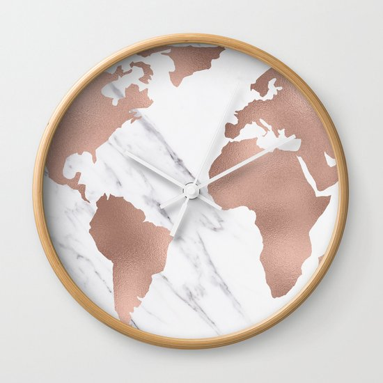 Marble World Map Rose Gold Pink Wall Clock By MapMaker