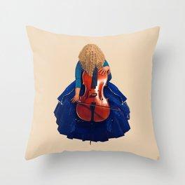 Cellist in Blue II Throw Pillow