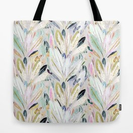 Pastel Shimmer Feather Leaves on Gray Tote Bag