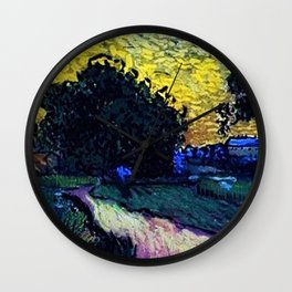 Field with Trees, the Chateau of Auvers by Vincent van Gogh Wall Clock