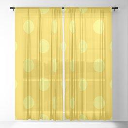 XXL Lemon Yellow and Sunshine Yellow Polka Dot Pattern Sheer Curtain
