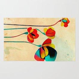 Exotic Watercolor Flower Rug