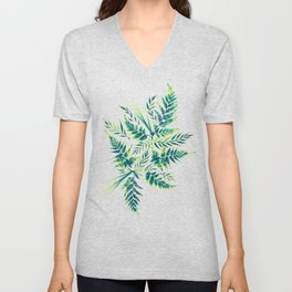 Fern leaves - green Unisex V-Neck