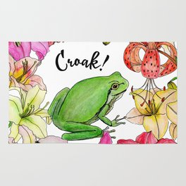 watercolor frog with lilies Rug