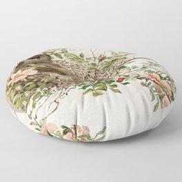 Vintage Bird with Eggs in Nest Floor Pillow