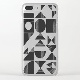 Shape and Line in Black and White Clear iPhone Case