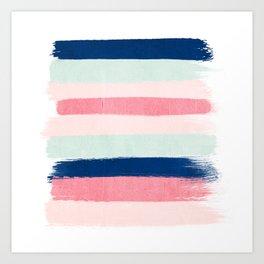 Painted stripes trendy color palette minimal striped decor nursery home Art Print