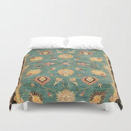 Oushak  Antique Gold Teal Turkish Rug Print Duvet Cover