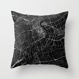 Shanghai Black Map Throw Pillow