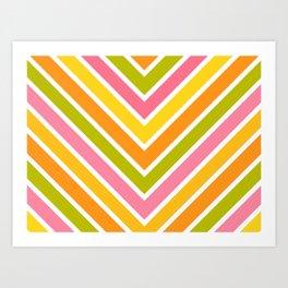 Chevron Citrus Stripes 3 Art Print