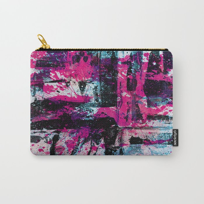 Express Yourself II - Abstract pink and blue artwork Carry-All Pouch
