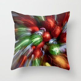 Abstract Red & Green Motion Blur Throw Pillow