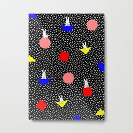 geometric bunny - 80s 90s inspired pattern - memphis milano Metal Print