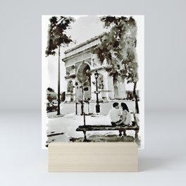 The Arc de Triomphe Paris Black and White Mini Art Print