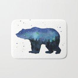 Forest Bear Silhouette Watercolor Galaxy Bath Mat