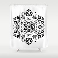 snowflake Shower Curtains featuring Snowflake by BWartwork