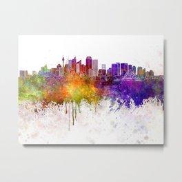 Sydney skyline in watercolor background Metal Print