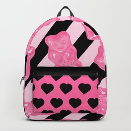 Jelly Beans & Gummy Bears Pattern - Pink and Black Backpack