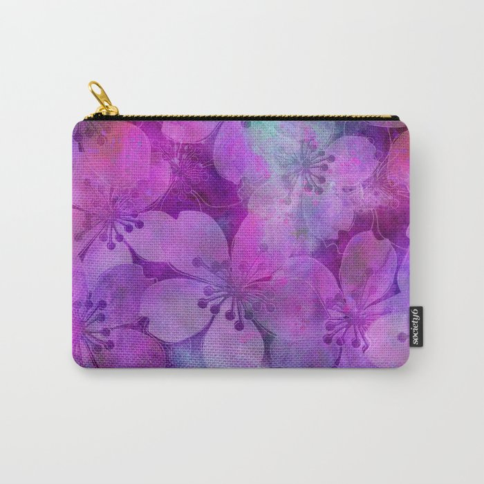 Fancy Floral watercolor pattern pink Carry-All Pouch