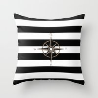 compass Throw Pillows featuring Compass by Andréa Bottalla