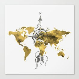 Gold World Map 2 Canvas Print