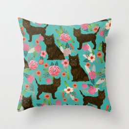 cairn Terrier florals dog pattern dog breed pet friendly gifts for dog person Throw Pillow