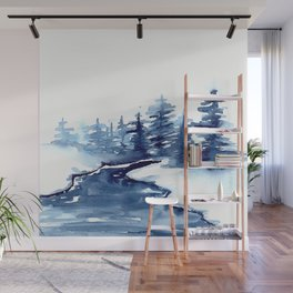 Blue Pine Trees Wall Mural