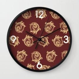 Royal Gator - Gold on Crimson Wall Clock