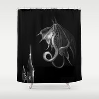 mother of dragons Shower Curtains featuring Dragons by DragonsTime