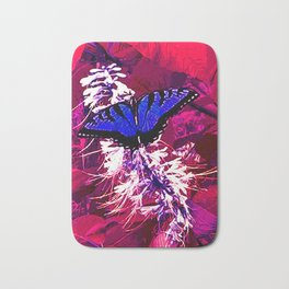 Blue Butterfly on Red Leaves Bath Mat