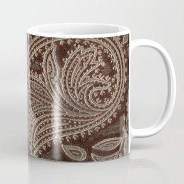 Cocoa Brown Tooled Leather Coffee Mug