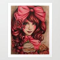 strawberry Art Prints featuring Strawberry  by Sheena Pike ART