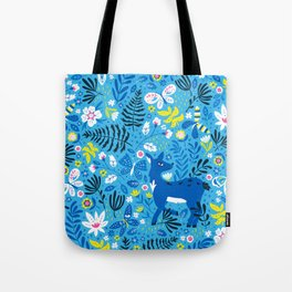 Deer and Butterflies (Sky Blue) Tote Bag