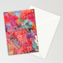 McKinney map Texas painting 2 Stationery Cards