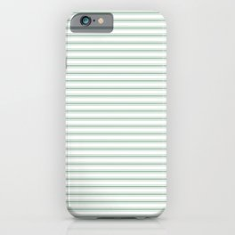 Mattress Ticking Narrow Horizontal Striped Pattern in Moss Green and White iPhone Case