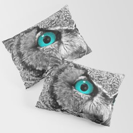 Black and White Great Horned Owl w Aqua Eyes A174 Pillow Sham