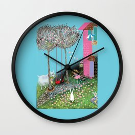 girl playing jumprope in beautiful flower garden, cute goat eating salad and cute bunny, pink house Wall Clock
