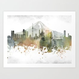 Tokyo Greenish Skyline Art Print